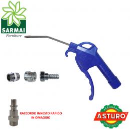 PISTOLA SOFFIAGGIO ARIA COMPRESSA PER COMPRESSORE IN PLASTICA CANNA LUNGA 145 mm