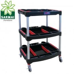 Carrello porta minuterie attrezzi per officina garage 3 ripiani 58x46x90 cm