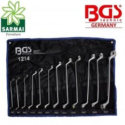 Set SERIE 12 chiavi POLIGONALI DOPPIE CURVE con CUSTODIA da 6 a 32 mm BGS 1214