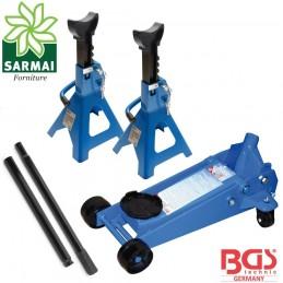 BGS 9248 3015 Kit carrello cric martinetto idraulico + colonnette cavalletti