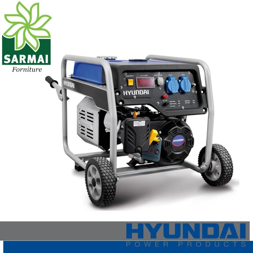 Hyundai HY4000 gruppo elettrogeno Generatore a benzina carrellato 3,5 Kw 230V