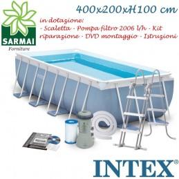 INTEX PISCINA FUORITERRA PRISMA FRAME RETTANGOLARE 400x200x100 CON POMPA FILTRO