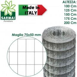 RETE METALLICA ZINCATA ROTOLO 25 m ELETTROSALDATA PER RECINZIONE MAGLIA 75x50 mm