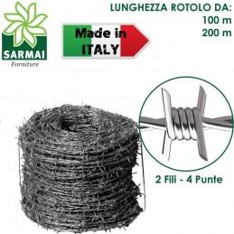 ROTOLO FILO ZINCATO SPINATO 2 FILI 4 PUNTE 1,8 mm RECINTO ANIMALI SELVATICI