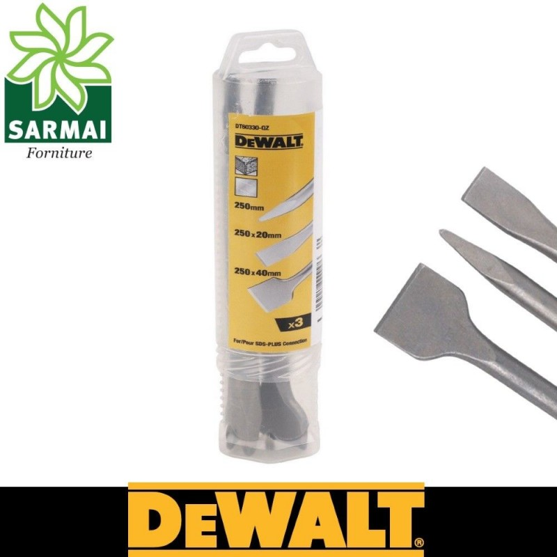 DeWALT DT60330-QZ SET 3 SCALPELLI A PUNTA PIATTO E A SPATOLA 250 mm SDS-PLUS