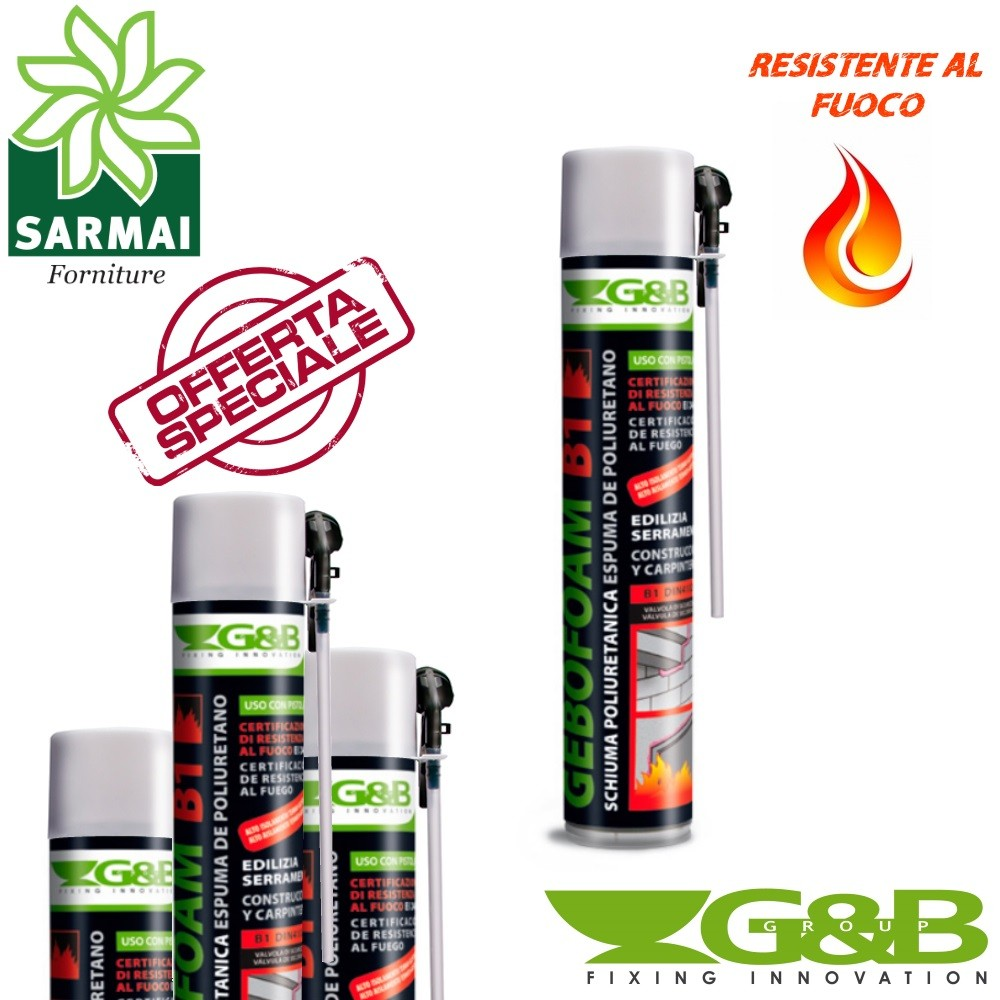 SCHIUMA POLIURETANICA GEBOFOAM B1 ANTIFUOCO G&B USO MANUALE COLORE ROSA BOMBOLETTA MANUALE 750 ML