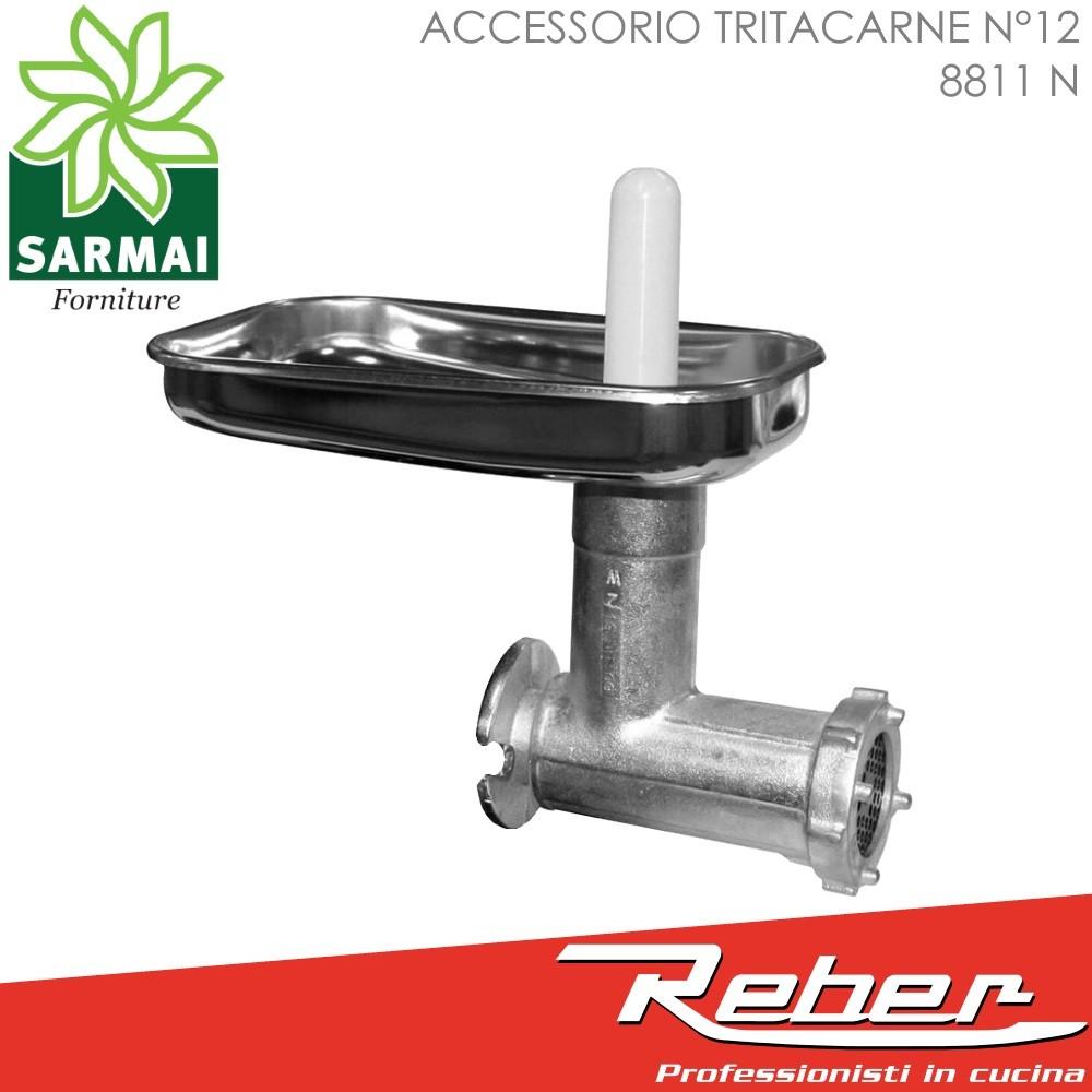 REBER 8811 N ACCESSORIO OPTIONAL TRITACARNE N°12 CON PIATTO INOX PER MOTORE ELETTRICO DA 500W