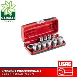 USAG 610 1/4 EFK Assortimento bussole ribassate cricchetto reversibile kit 11 pz