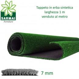 Prato sintetico 7 mm erba finta artificiale calpestabile tappeto verde larg. 1 m