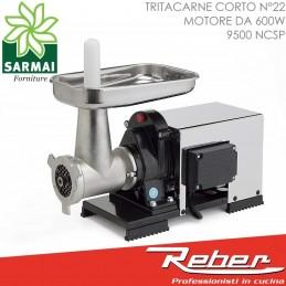 REBER 9500 NCSP Tritacarne corto n° 22 elettrico 600W 0,8 HP piatto in inox