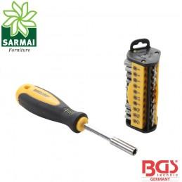 BGS 35831 assortimento 31 pz inserti bit Torx Phillips impugnatura porta inserti