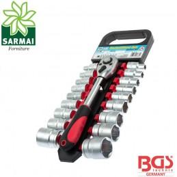 BGS 15110 set chiave cricchetto reversibile 1/2 + 18 bussole bocca esagonale