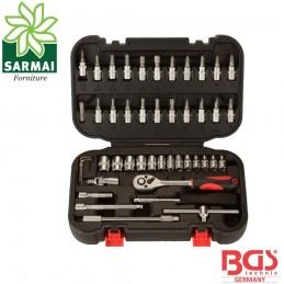 BGS 2142 cassetta cricchetto 1/4 46 pz. assortimento bussole inserti cacciaviti