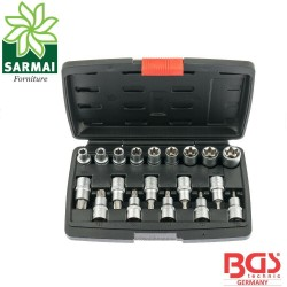 "BGS 95100 cassetta 19 pz. set assortimento bussole 1/2"" Torx femmina e maschio"