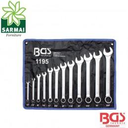 BGS 1195 serie 12 pezzi chiavi cromate combinate in pollici angolo 15°