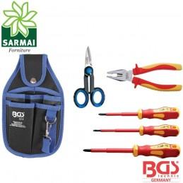 BGS 35850 set assortimento 6 pezzi utensili elettricista porta utensili cintura