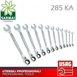 USAG 285 KA chiavi combinate con cricchetto reversibile forchetta e stella 15°
