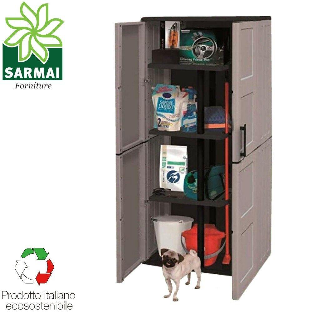 Armadio Armadietto Porta Scope In Resina 68x37x163 Cm Da Esterno Giardino Garage