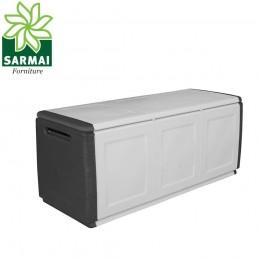 Baule cassapanca 3 posti portatutto 138x53x57 cm in resina giardino garage casa