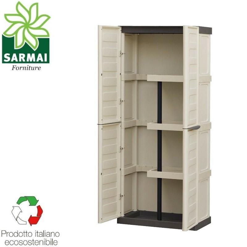 Armadio armadietto porta scope in resina 70x39x165 cm da esterno giardino  garage terrazzo