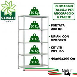 KIT SCAFFALE SCAFFALATURA METALLO 5 RIPIANI CON RINFORZO 90x40x200 GRIGIO 400 Kg