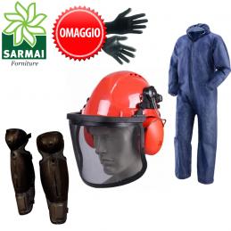 Kit protezione decespugliatore PRO casco visiera cuffie tuta gambali parastinchi