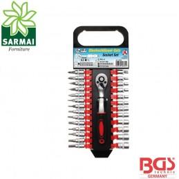 BGS 15105 Set assortimento chiavi a bussola cricchetto reversibile attacco 1/4
