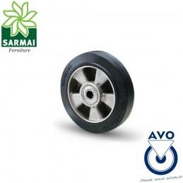 Ruota AVO 16A 200x50 Foro 25 rivestimento in gomma elastica nucleo in alluminio