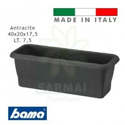 Fioriera vaso balconetta BAMA effetto paglia intrecciata con riserva d'acqua