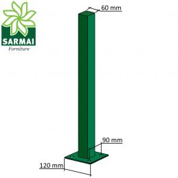 Paletto palo quadro quadrato plastificato 60x60 per recinzione modulare staffa