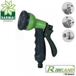 Ribiland 1302 Pistola multigetto 8 funzioni irrigazione giardino Soft touch