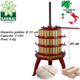 Torchio pressa a cricco 2 velocità per vinaccia uva vino in legno made in italy
