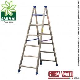 Marchetti PABLO scala scaletto alluminio doppia salita 6 gradini con piano