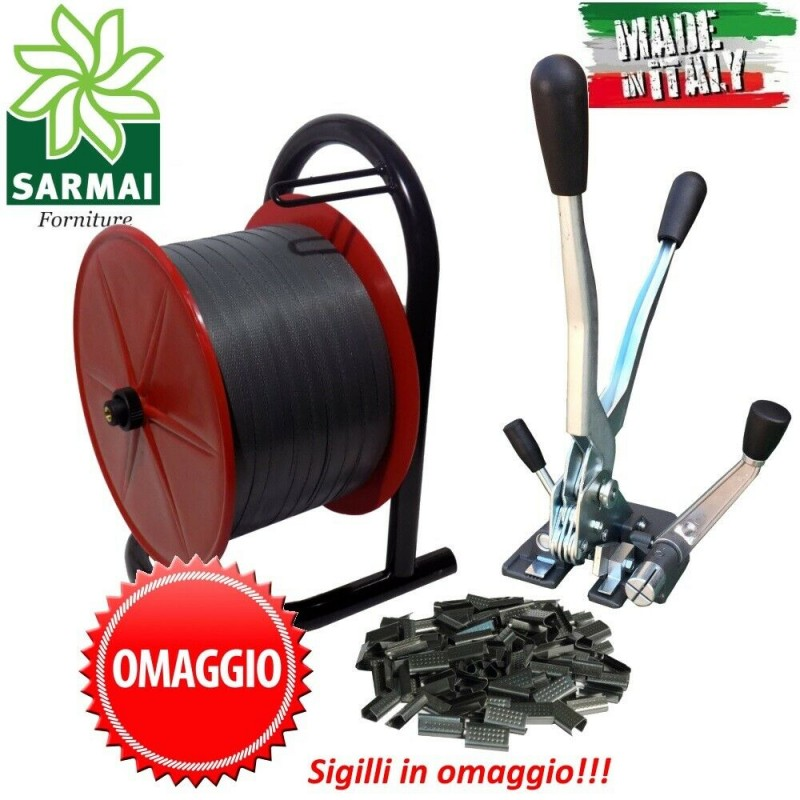 Kit reggetta 15 mm 750 m Tendireggia manuale + Sigilli + Porta rotolo
