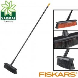 Fiskars L scopa scopone super leggera ergonomica giardino viale + manico incluso