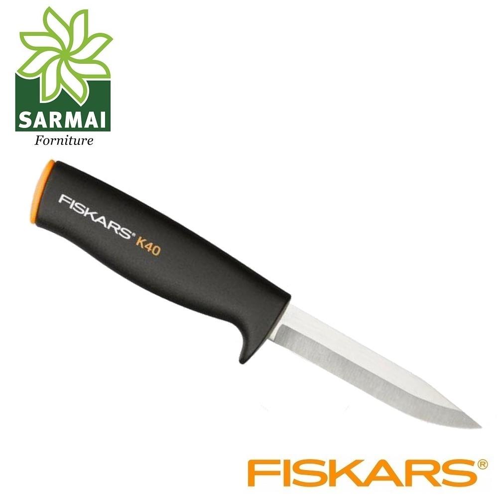 Coltello multiuso FISKARS K40 con fodero in plastica lama da 10 cm acciaio