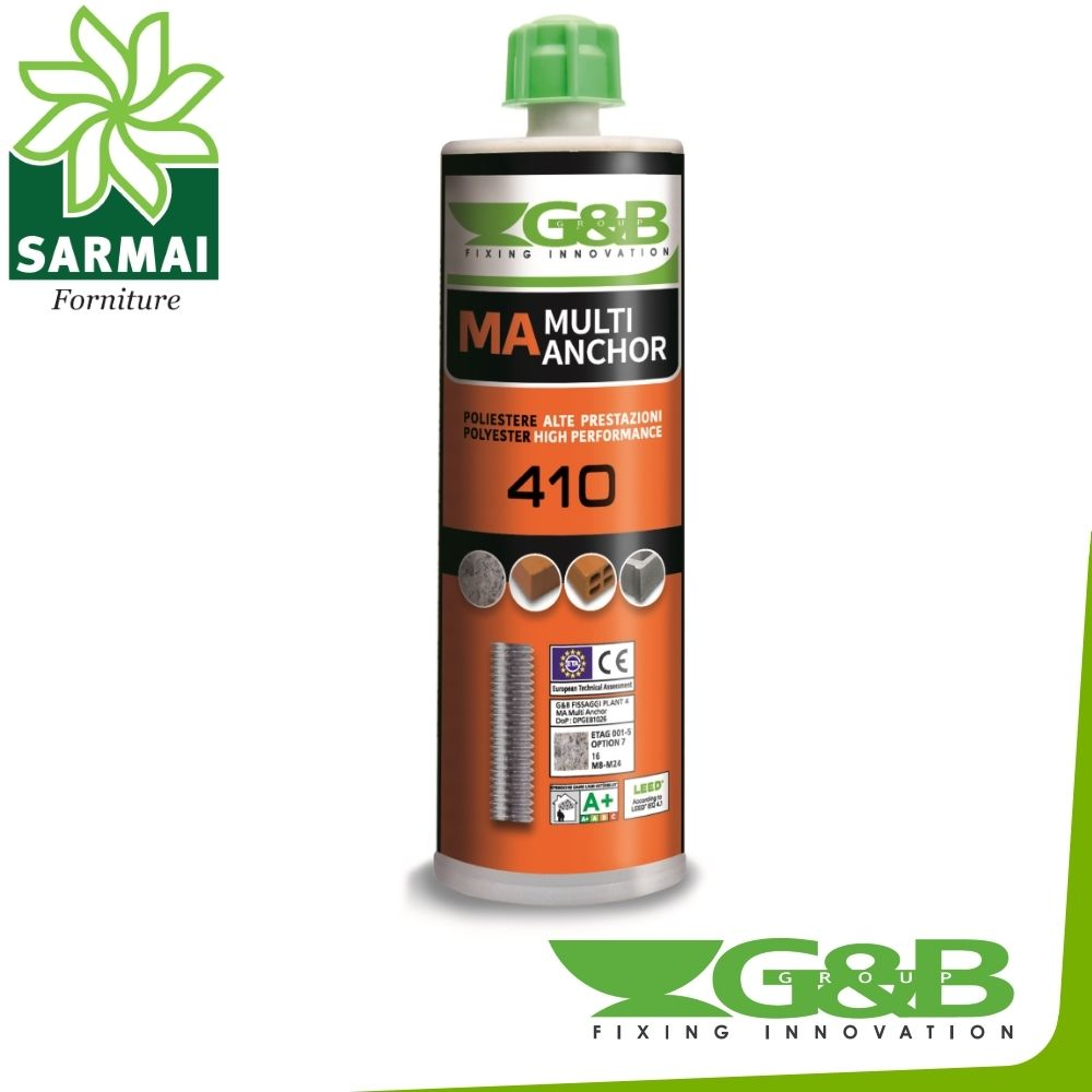 MULTI ANCHOR G&B RESINA ANCORANTE MA 410 ml 1-3-6 PZ TASSELLO CHIMICO CEMENTO