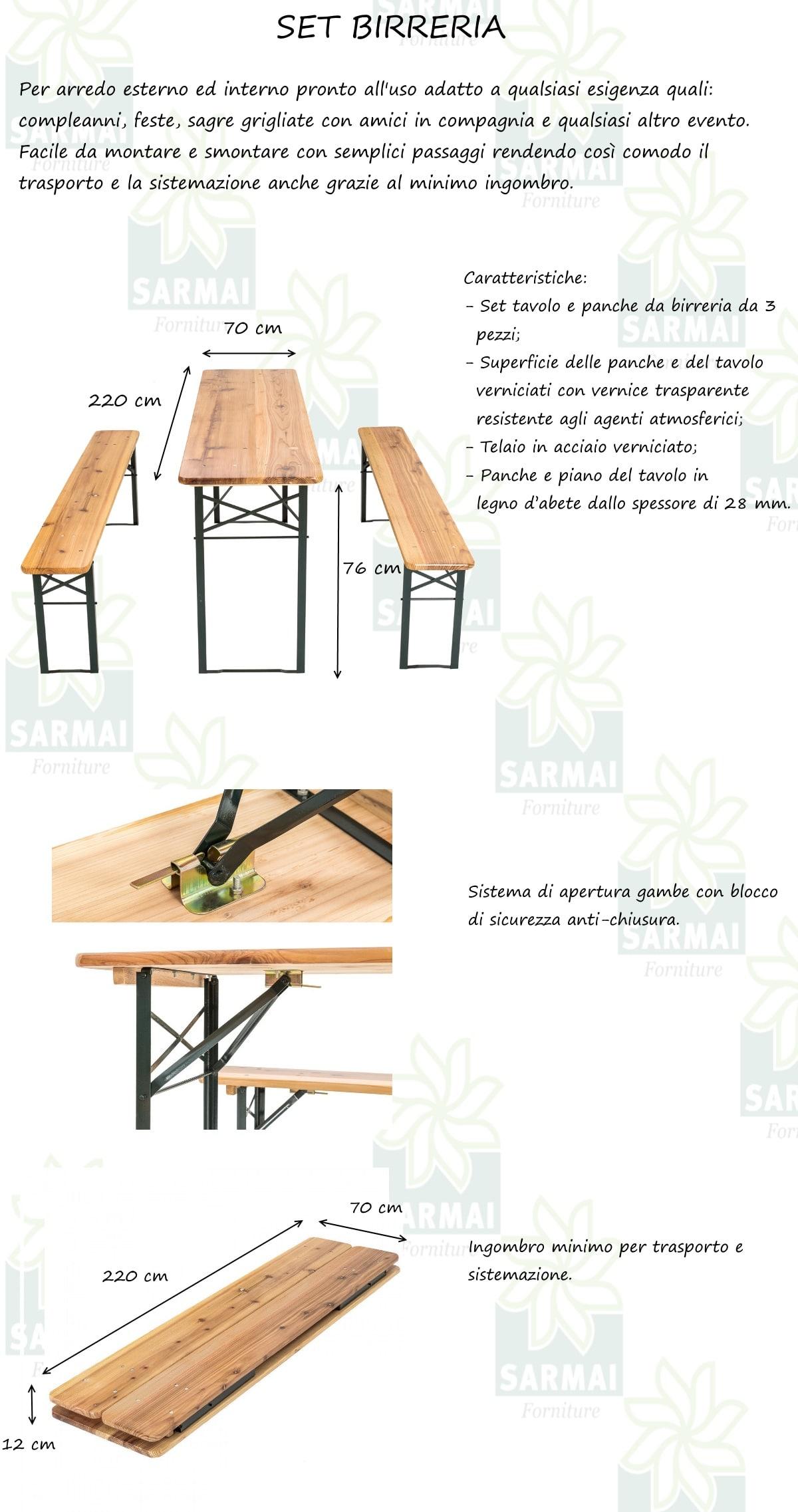 Tavoli E Panche Birreria Usati.Set Birreria Tavolo 2 Panche Richiudibili In Legno 220x70xh76