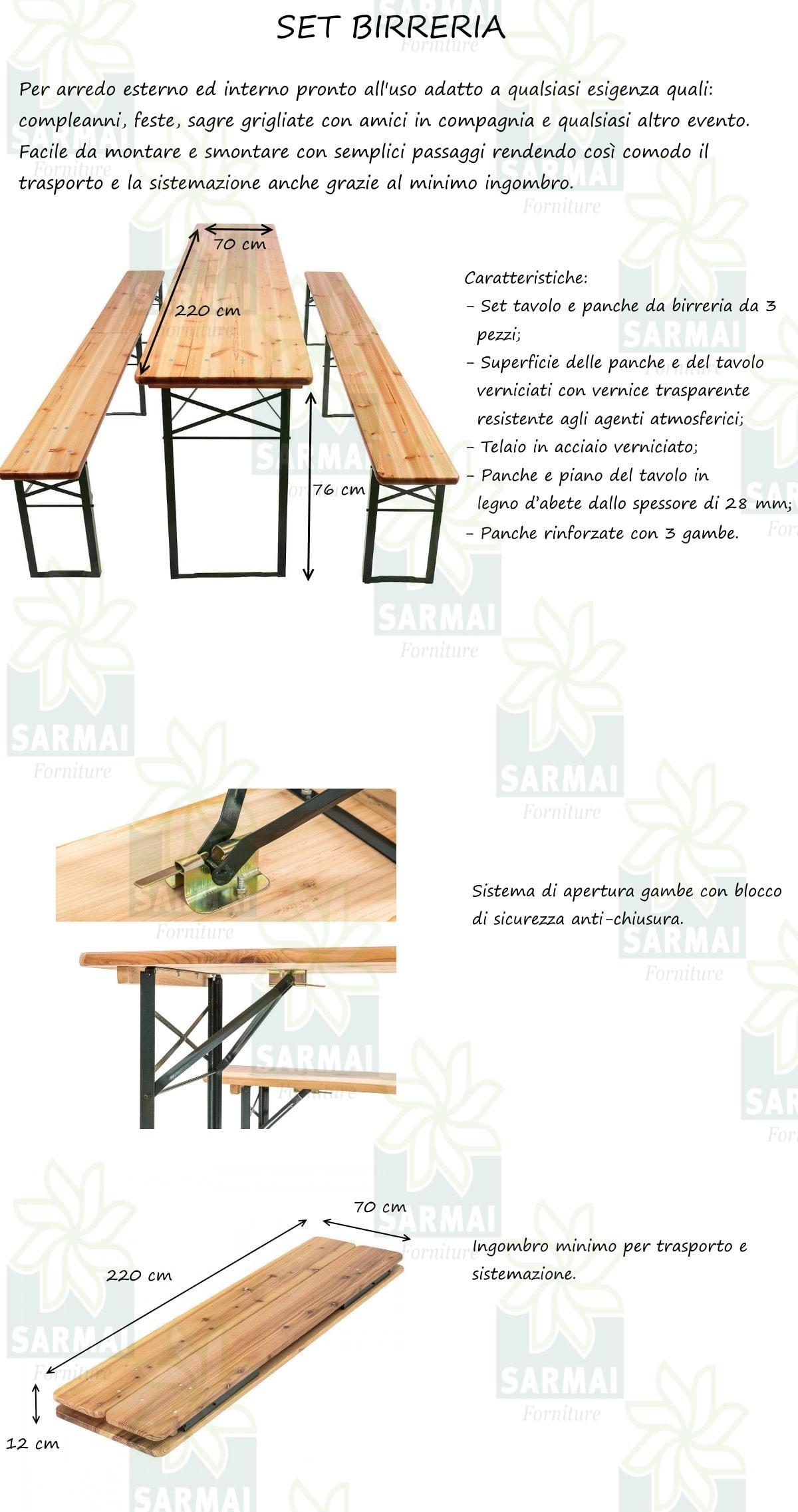 Tavoli E Panche Per Sagre.Set Birreria Tavolo 2 Panche Richiudibili In Legno 220x70xh76