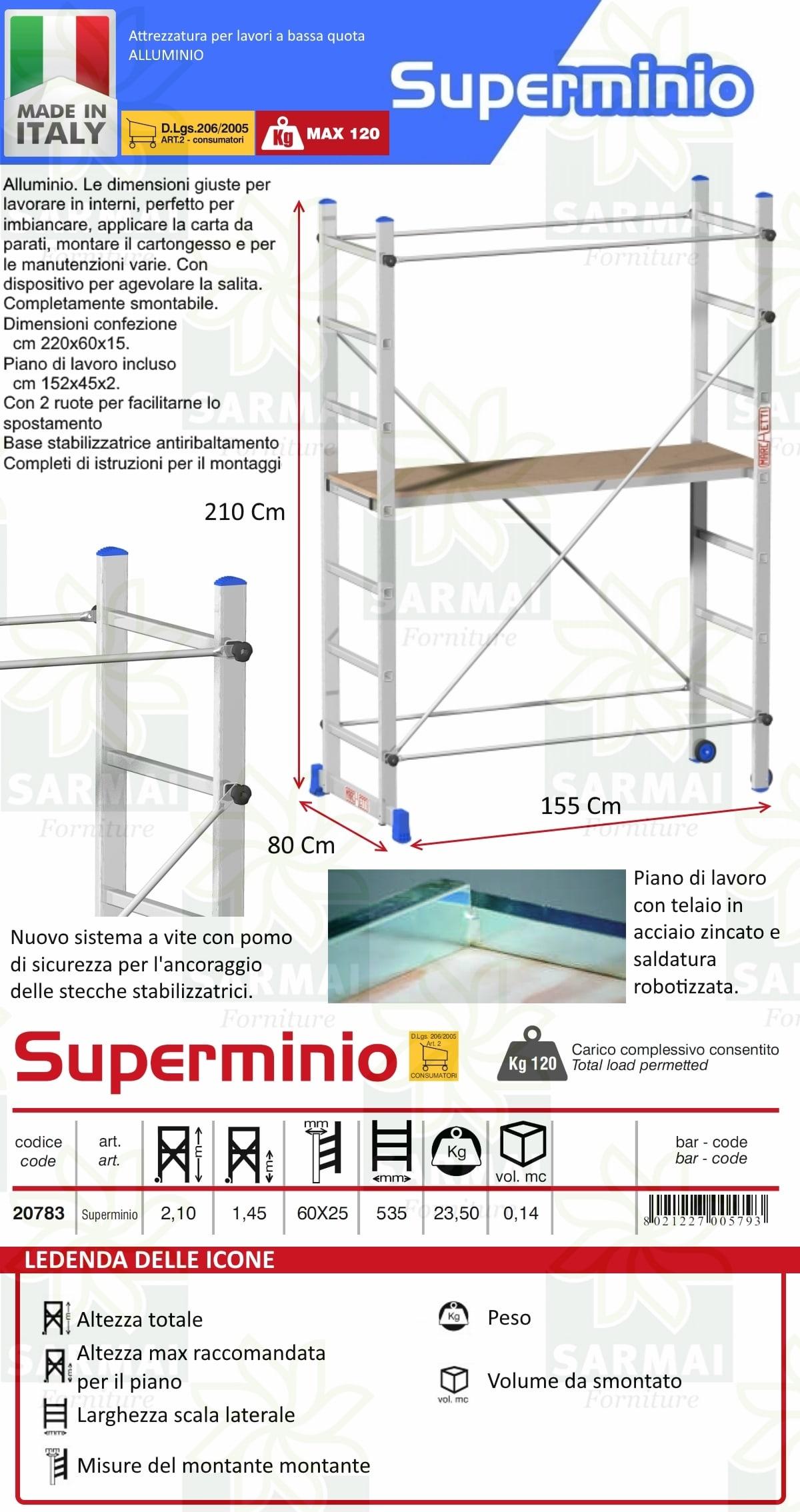 Trabattello in Alluminio Marchetti Superminio