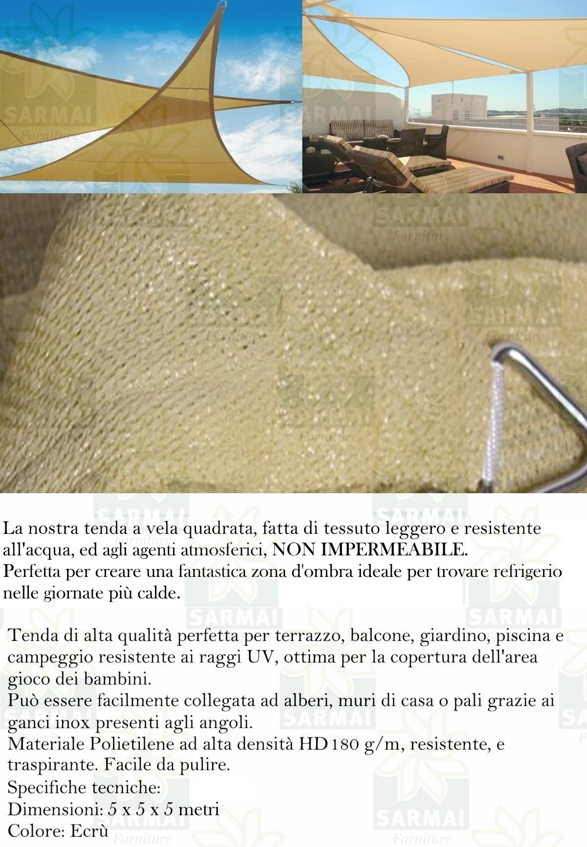 Vela Triangolare Da Giardino tenda da sole telo ombreggiante vela triangolare ecrù beige 5 x 5 x 5 m